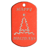 Aluminum Red Ribbon Tree Christmas Tag