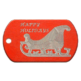 Aluminum Red Sleigh Christmas Tag