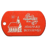 Aluminum Red Church Christmas Tag