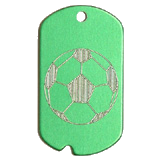 Aluminum Green Soccer Military Dog Tag