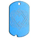 Aluminum Blue Double Hearts Military Dog Tag