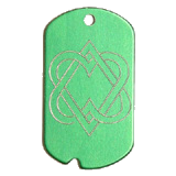 Aluminum Green Double Hearts Military Dog Tag