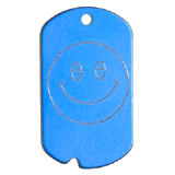 Aluminum Blue Smiley Military Dog Tag