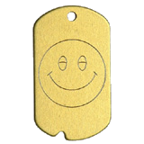 Aluminum Gold Smiley Military Dog Tag