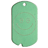 Aluminum Green Smiley Military Dog Tag