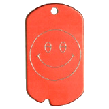 Aluminum Red Smiley Military Dog Tag