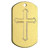 Aluminum Gold Cross Military Dog Tag