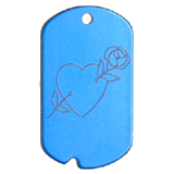 Aluminum Blue Rose Heart GI Dog Tag