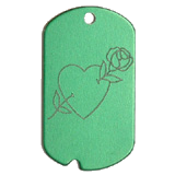 Aluminum Green Rose Heart GI Dog Tag