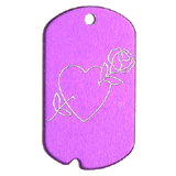 Aluminum Purple Rose Heart GI Dog Tag
