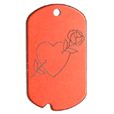 Aluminum Red Rose Heart GI Dog Tag