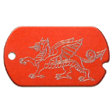 Aluminum Red Dragon Military Dog Tag